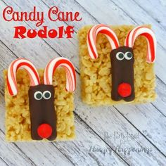 Candy Cane Rudolph on Rice Krispie Treats= mini c canes, melted semisweet chips, eyes and red candy