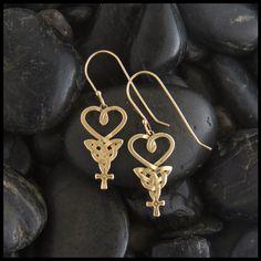 Gold Celtic An Teor earrings.