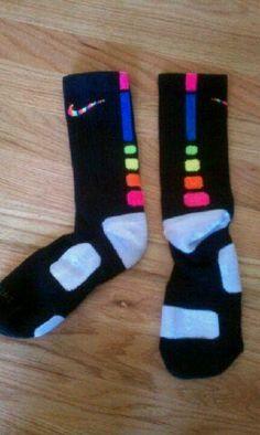 Nike elite socks want Nike Elite Socks, Nike Socks, Athletic Outfits, Athletic Wear, Nike Outfits, Sport Outfits, Rainbow Nikes, Rainbow Socks, Basketball Socks