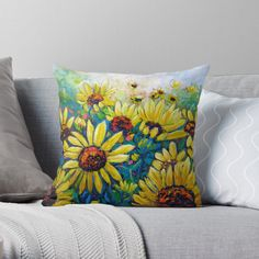 Cotton Tote Bags, Sunflowers, Fine Art Prints, Original Art, My Arts, Cushions, Throw Pillows, Printed, Awesome
