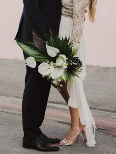 This Miami Wedding Proves That An Intimate Day Can Be Majorly Gorgeous Junebug Weddings Tropical Flowers, Tropical Wedding Bouquets, White Wedding Bouquets, Wedding Flower Arrangements, Bride Bouquets, Floral Wedding, Tropical Weddings, Purple Bouquets, Purple Wedding