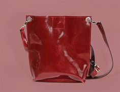 """Red Patent Leather Bag """"Monica Damask"""", Small Leather Crossbody Purse, Genuine Leather Bag, Handmade Bag, Small Crossbody Bag"""