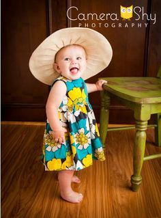 #camerashy #photography #studio #portraits #poses #inspiration #hat #baby #blue #yellow #green #dress #happy #smile #love