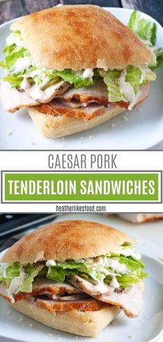 A savory and filling sandwich with tender and juicy lemon-garlic pork tenderloin. A savory and filling sandwich with tender and juicy lemon-garlic pork tenderloin! These Caesar Pork Tenderloin Sandw Pork Tenderloin Sandwich, Roast Beef Sandwich, Soup And Sandwich, Beef Tenderloin, Pork Roast, Pesto Sandwich, Roast Brisket, Sandwich Bar, Sandwich Fillings