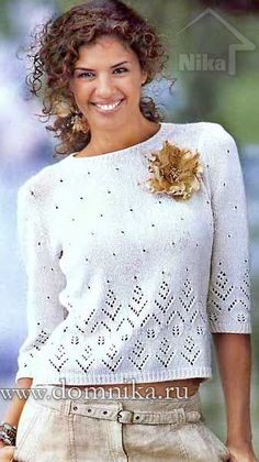 Crochet Patterns Sweter White blouse with knitting needles. Lace Knitting Patterns, Knitting Stitches, Knitting Needles, Summer Knitting, Easy Knitting, Clothes For Pregnant Women, Pulls, Knit Crochet, Sweaters For Women
