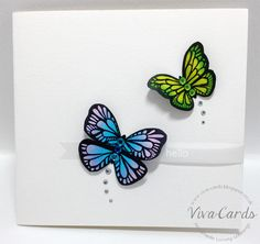 """317 - Handmade Card - """"Hello'    #Green, #Blue, #Butterflies, #Vellum"""