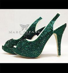 Emerald stunning crystal slingbacks by MDNY