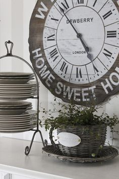 love this weathered clock on a side board   |   via The Little Corner on Tumblr
