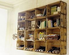 stain inexpensive crates from JoAnn to make awesome vintage-looking bookcase!
