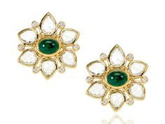 Temple St. Clair emeralds surrounded by white sapphires and 18 karat gold