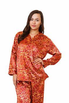 womens Red Satin Pajamas Paisley