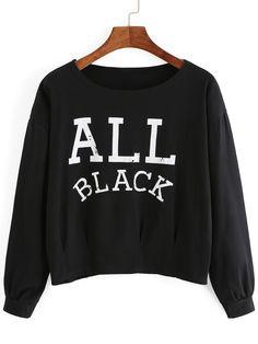 kurzes Sweatshirt Rundhals mit Buchstaben Druck - schwarz 12.60