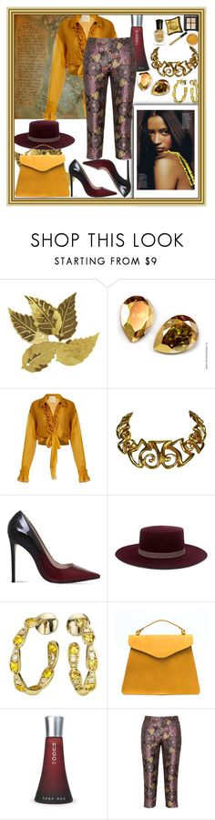 """""""Here She Comes Sunny Days!"""" by nefertiti1373 ❤ liked on Polyvore featuring Darice, BY. Bonnie Young, Christian Lacroix, Carvela, Janessa Leone, Sabine Getty, HUGO and Manon Baptiste"""