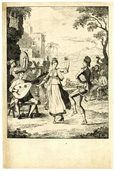 A man and a woman dance to a guitar and castanets, with other dancers and the bay of Naples in the background; an early state before letter and much extra shading.  c.1773/5 Etching