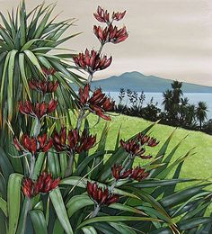Kirsty Nixon exhibition, Red Pohutukawa and Flax paintings, Rangitoto and Coromandel paintings, blue sky and sea art, beach scenes, New Zealand landscape artist, Matauri Bay, acrylic on canvas, NZ bach scenes, colourful New Zealand landscapes, red and green landscapes ,