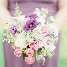 Purple and Pink Garden Bridesmaid Bouquets
