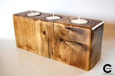 Natural wood tea lights holder