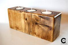 Natural wood tea lights holder