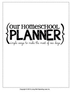 Free Printable Homeschool Planner Cover Page