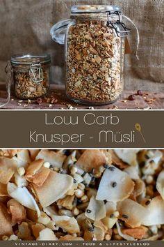 Gesundes Knusper – Müsli (Low Carb) - ein gesundes Frühstück selbstgemacht. Mit Nüssen und Chiasamen. #müsli #frühstück #rezepte #lowcarb