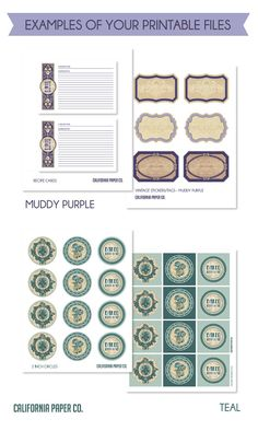 Vintage PARTY PACKAGE Wedding Decorations Examples of Printable Files by CaliforniaPaperCo