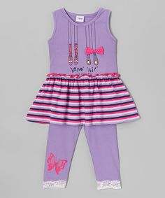 Look what I found on #zulily! Purple A-Line Dress & Pants - Toddler & Girls #zulilyfinds