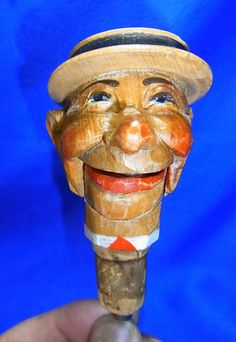 Vintage Italian ANRI Wood Carved Bottle Spout Man with Hat #P