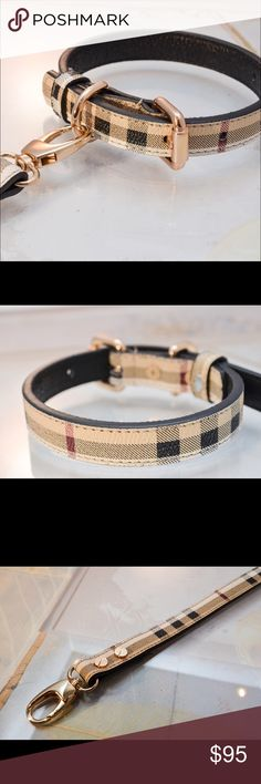 "Burberry Design Dog Collar and Leash Set New!  Designer Plaid pattern cowhide leather dog collar and leash set. Beautifully constructed with high-quality stain resistant golden clasps. The gorgeous detail on the leash and collar speaks for itself. Every stitch, metal and material is made to perfection. The collar is available in different adjustable sizes  [FITS NECK SIZE] XS: 8"" to 12"" (0.60"" Width)  S: 8.5"" to 12.5"" (0.75"" Width) M: 10"" to 14"" (0.75"" Width) L: 17"" to 21"" (1.00"" Width) XL…"