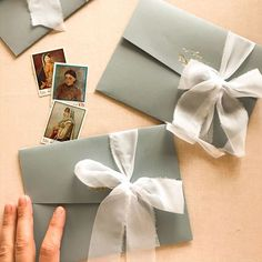 Dusty blue wedding invitation, white silk ribbon Blue Wedding Invitations, Wedding Envelopes, Elegant Invitations, Wedding Stationary, Pocket Invitation, Invitation Envelopes, Black Envelopes, Dusty Blue Weddings, White Silk