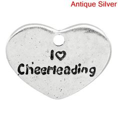 2 pc I love Cheerleading heart Charms Silver by LKMJewelryDesigns, $2.50