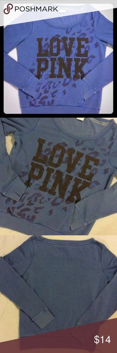 Slouchy pullover crew love pink cheetah M Dark blue.  Black and other colors of blue animal print graphics.  Front pocket. Size M.  Well worn. Still cute. PINK Victoria's Secret Sweaters Crew & Scoop Necks