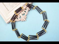 How to Make Ladder Shaped Black Glass Bead Necklace Patterns with Round ...