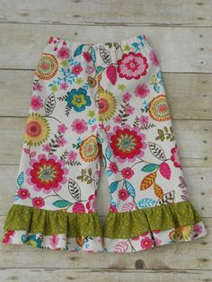 Ruffles Galore Boutique Girls Pants--Multi Floral on cream with green ruffle --Sizes 3 months-10 years