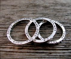 Set of Three Two Sided Stackable Secret Poetry Rings in sterling and new lowercase font. $70.00, via Etsy.
