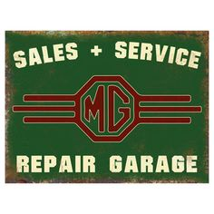 """Add a bit of nostalgia to your garage or den with this vintage MG Sales & Service metal sign. Made by hand in the USA, these heavy duty signs are manufactured from 24 gauge steel, and printed using dye-sublimation for a durable and very detailed finish. Signs measures 12"""" x 16""""."""