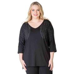 PRE-ORDER - SHOULDER EMBELLISHED TOP (BLACK) $59.95 http://www.curvyclothing.com.au/index.php?route=product/product&path=95_104&product_id=6819