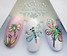 Photo Dragonfly Nail Art, Butterfly Nail Art, Blue Butterfly, Round Nail Designs, Nail Art Designs, Nail Art Rhinestones, Rhinestone Nails, Gel Nail Art, Acrylic Nails