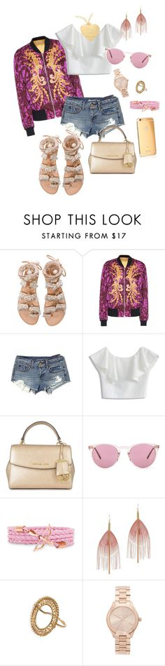 """""""Pink & Gold Luxury and simple"""" by klery-zisimatou on Polyvore featuring Elina Linardaki, Dries Van Noten, American Eagle Outfitters, Chicwish, MICHAEL Michael Kors, Oliver Peoples, Serefina and Michael Kors"""