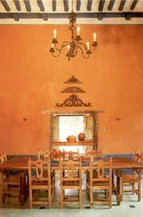 Mexico. Interior of an old hacienda...