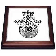 3dRose Hamsa Hand Black and White, Trivet with Ceramic Tile, 8 by 8-inch