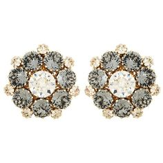 Dolce & Gabbana Crystal-Embellished Clip-on Earrings ($390) ❤ liked on Polyvore featuring jewelry, earrings, accessories, grey, earring jewelry, grey earrings, gray earrings, grey jewelry and clip earrings