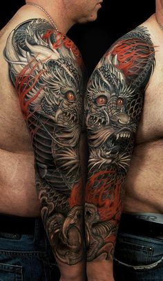 Japanese sleeve by (unknown). Dragon inspiration.                                                                                                                                                     More