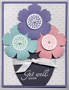 "Mixed Bunch Get Well card by Julie Bug - Cards and Paper Crafts at Splitcoaststampers; blush blossom, pool party, wisteria wonder, basic gray and white cs; blush blossom, pool party, wisteria wonder and versamark inks; oval scallop die, perfect polka dot ef, whisper white 3/8"" ribbon, blossom punch, 1"" circle punch, white embossing powder; dimensionals"