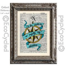 New to EcoCycled on Etsy: To Live Would Be An Awfully Big Adventure Hand Colored on Vintage Upcycled Dictionary Art Print Book Print Recycled Peter Pan Compass Rose (10.00 USD)