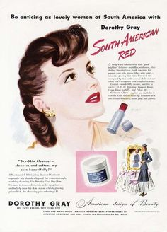 South American Red from Dorothy Grey, 1942. #vintage #1940s #makeup #lipstick #ads