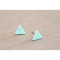 Jessica Joy Small Mint Triangle Stud Earrings (37 PLN) ❤ liked on Polyvore featuring jewelry, earrings, triangular earrings, mint jewelry, mint green earrings, geometric jewelry and stud earrings