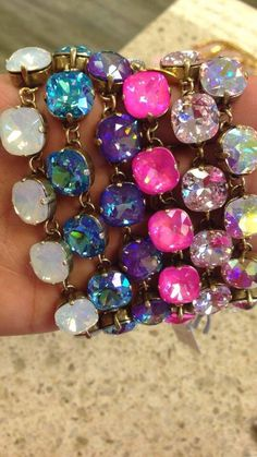 Colorful Catherine Popesco bracelets!Catherine Popesco La Vie Parisienne Jewelry with Swarovski Crystals in EVERY color! Available at Eve Marie's in Hattiesburg, Mississippi! The absolute best selection and a perfect addition to any wardrobe! And a great gift idea :) 601-450-0559
