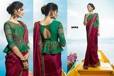 Saree Jacket Designs, Saree Blouse Neck Designs, Simple Blouse Designs, Stylish Blouse Design, Designer Blouse Patterns, Indian Designer Outfits, Bollywood, Wedding Wear, Wedding Dresses