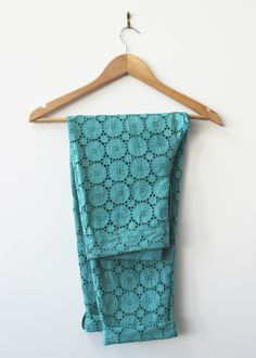 The Fabric Store | Dyed Aqua broderie pants by Grace of our Auckland store.