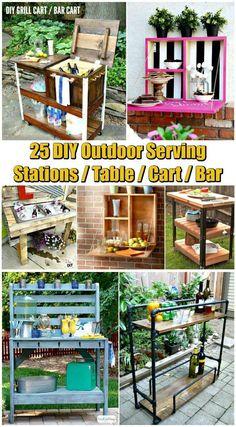 25 DIY Outdoor Serving Stations / Table / Cart / Bar - DIY & Crafts